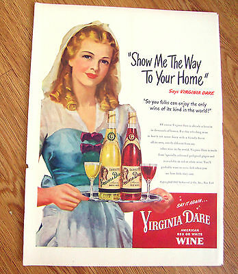1947 Virginia Dare Wine Ad  Show me The Way to your Home