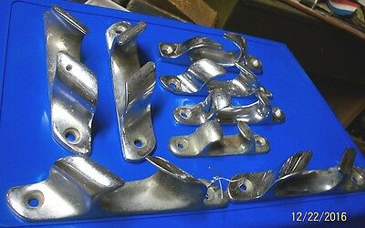 Nice Lot Of 8, Antique, Silver Plated Brass Boat Cleats