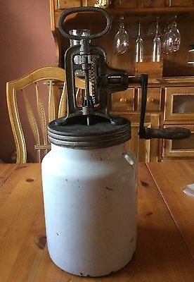 Antique Butter Churn w/ White Enamel Jar Rare Unusual Made in Germany