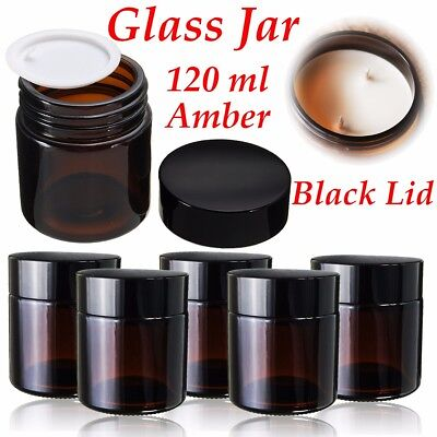 120ml Amber Glass Jar Bottles Containers Cream For DIY Cosmetics Candles Spices