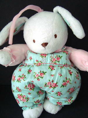 carters musical bunny floral pull toy baby infant white blue pink lovey plush