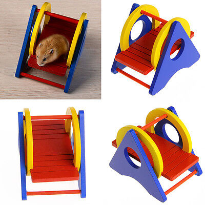 Natural Safe Wooden Rainbow Colorful activity Swing Toy for Pet mouse Hamsters