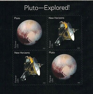 PLUTO EXPLORED!  NEW HORIZONS STAMP SHEET ~ 2016 U.S. Stamps #5077-5078 MINT!