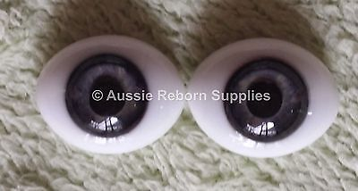 Reborn Baby Oval Glass Eyes 14mm Grey Blue Doll Making Supplies