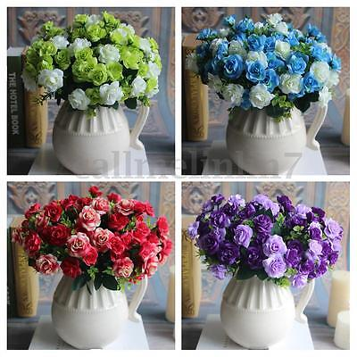 15 Heads Silk Flowers Bouquet Artificial Rose Wedding Home Floral Decor Plant UK