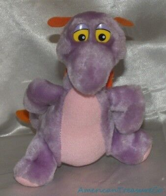 "Vintage 80s Disney Parks Plush 7"" Epcot Figment The Purple Dragon w/Closed Mouth"