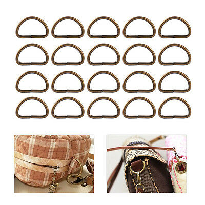 20x 20mm Metal D Ring Strapping Webbing Purse Leather Bag Handbags Buckles Belt