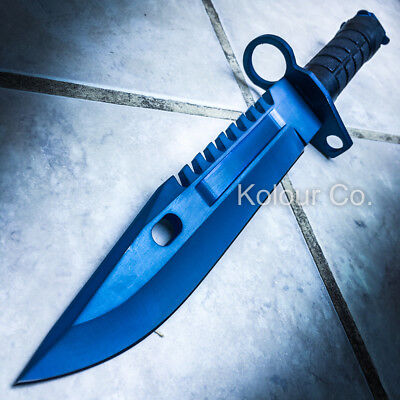 """13"""" CS GO Tactical Fixed Blade Hunting Knife Bayonet Bowie BLUE STEEL Survival"""