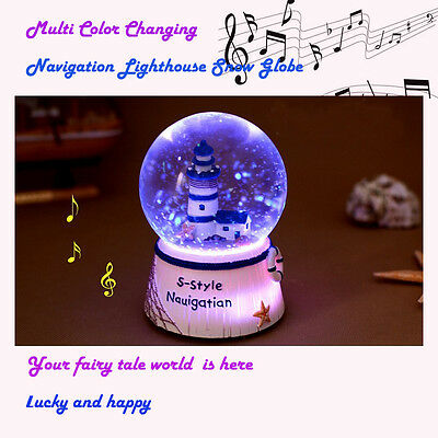 AU LED Lighthouse Tower Snow Globe Musical Box Waterball Toys Gift Home Decor