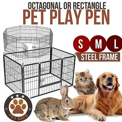 "8 Panel Pet Play Pen Portable Exercise Fence Cage Enclosure Dog Puppy 24"" 36"""