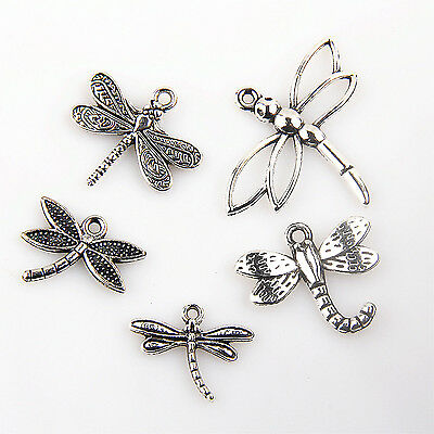 Tibetan Silver Charms Dragonfly Pendants Beads Jewelry Making DIY Accessories