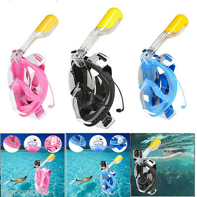 Full Face Snorkeling Set Snorkel Mask Diving Goggles W/ Breather Pipe For GoPro