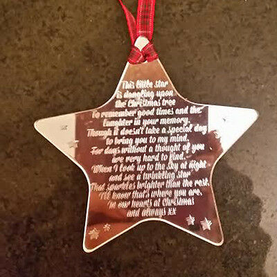 Personalised Engraved Christmas Star Poem Decoration In Loving Memory -52