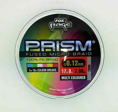 Fox Rage NEW Prism Micro Fused Braid Multi Coloured Pike Predator Line
