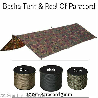Army Military Basha Tent + 100m Paracord Reel 3mm Bivi Camping Guy Rope ParaCord