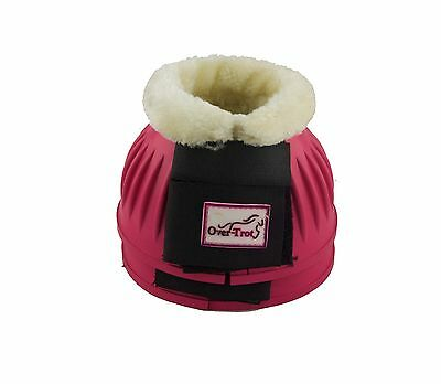 Over-Trot Pink rubber bell boots with fleece - Medium size