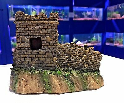 Traditional Castle Turret & Wall Aquarium Fish Tank Ornament 761