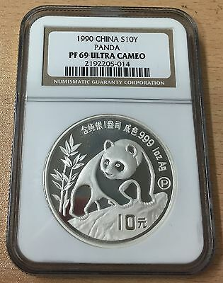 China 1990 Silver Proof 1Oz 10 Yuan Panda Coin - Slabbed Ngc Pf 69