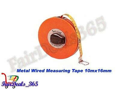 10Mx16MM TOP LINE MEASURING TAPE WIDTH WITH COPPER WIRES WITH UNBREAKABLE CASE