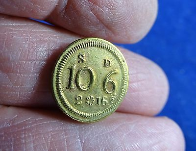 Antique Georgian Brass 1/2 Guinea Coin Weight, Withers Ref 1783g