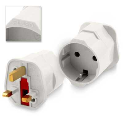Adaptador Red de Enchufe EU C/E/F 2 Pin Schuko a UK Ingles G 3 Pines Plug Blanco