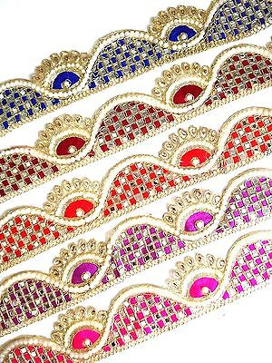 Gold Pearl Embroidery Indian Sari Border Lace Ribbon Trim Ethnic Craft 1 Meter