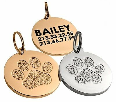 Personalized Dog Cat ID Tag 24K Gold or Chrome Plated Custom Engraved S L