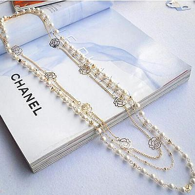 57CC Fashion Luxury Multilayer Chains Gold Rose White Pearl Flower Long Necklace