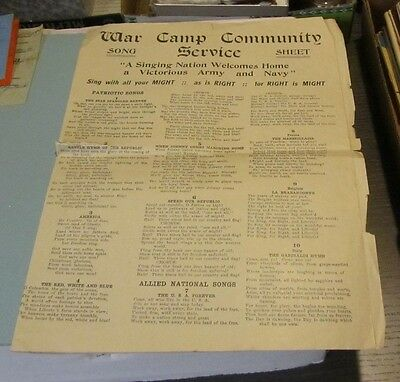 1919 WWI A Singing Nation Welcomes Home War Camp Community Service Song Sheet