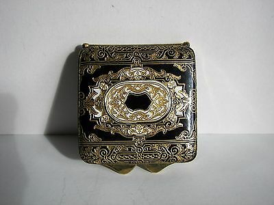 Vintage Leather Engraved Gilded Emty Flapjack Puff Box Powder Box With Mirror