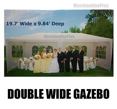 19 Ft Canopy Double Wide Gazebo Sun Shelter W/steel Frame Assembly Required New!