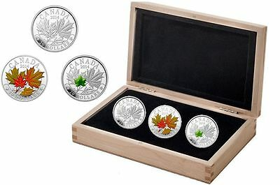 2014 Majestic $20 Coloured Maple Leaves Proof Silver Set of 3 Coins - .9999 Fine
