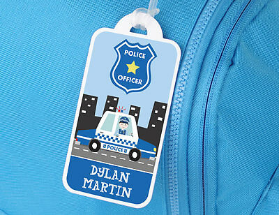 Bright Star Kids Personalised Luggage Name Tag - Police Officer in Car and Badge