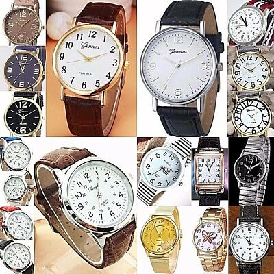 Women,Men Wrist watch with Numbers Faux Leather Analog Quartz 32-38mm steel case