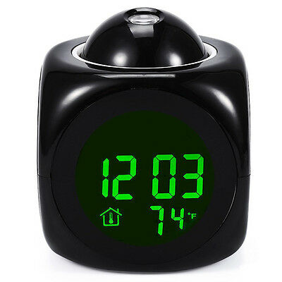 Digital LCD Voice Talking LED Projection Alarm Clock Temperature Projector AAA