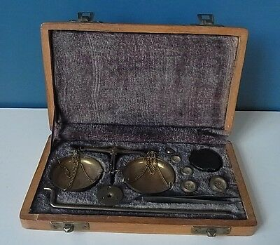 Complete Set Of Brass Balance Scales From India - Wood Box & Purple Lining - Vgc