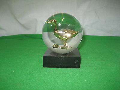 Solid Polished Clear Acrylic Brass Goose Laid Golden Egg with Black Stand