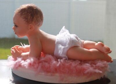 OOAK polymer clay baby girl doll by ALMA Artistry.