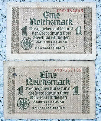 RAR GERMAN Banknote 1 REICHSMARK 1940-45 Vintage Money Bill SWASTIKA THIRD REICH