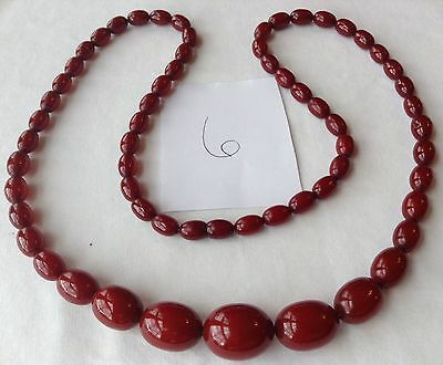 Vintage Cherry Amber Bakelite Bead Necklace Simichrome Tested Cb6
