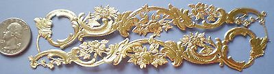 "**4**STRIPS DRESDEN FILIGREE=5 3/4"" x 1 1/2""=GOLD=DIE CUT=GERMANY=SCRAP=# C-2"