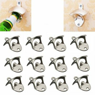 10 pcs x Stainless Steel Wall Mount Bar Beer Soda Glass Cap Bottle Opener Tool