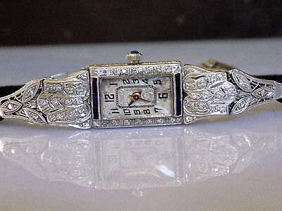 Platinum Mine Cut Diamond Sapphire Art Deco Spider Web Ladies Fancy Dress Watch