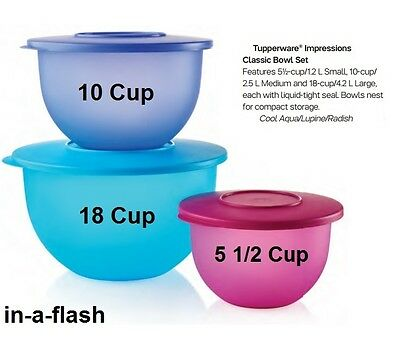 Tupperware IMPRESSIONS CLASSIC 3 BOWL SET/5 10 18 CUP Containers/Bowls BPA FREE