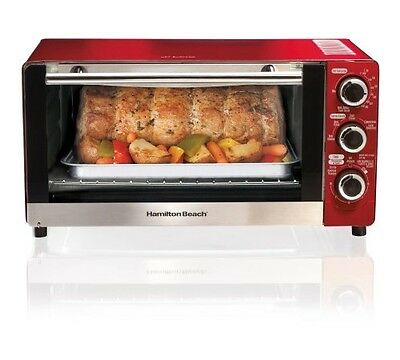 Hamilton Beach 6-Slice Convection Toaster/Broiler Oven, Candy Apple Red - NEW!!!