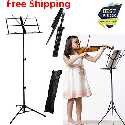 Metal Adjustable Sheet Music Stand Holde Foldable with Carry Case Bag Free Ship