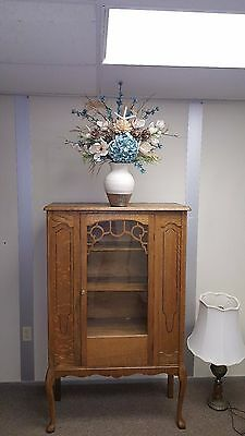 Antique solid Oak Showers Brothers Furniture china cabinet hutch wood orig.glass