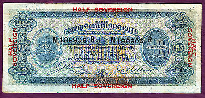 Australia ND 1918 Half Sovereign Cerutty / Collins R03b aF Note SCARCE