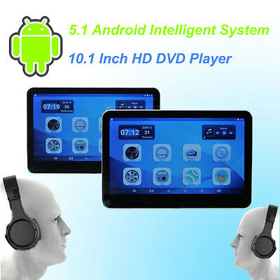 Android Headrest Car DVD Player  10.1 Inch Monitor HD Quad Core Wireless Headset