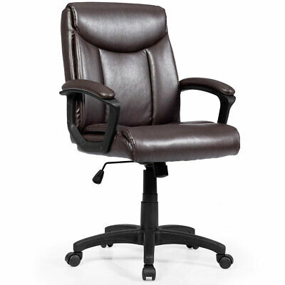 Ergonomic PU Leather Mid-Back Executive Computer Desk Task Office Chair Brown